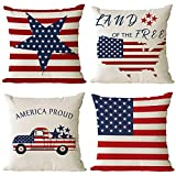 Set of 4 Patriotic Throw Pillow Covers 20x20 Inch 4th of July Decorative Pillow Covers American Flag Pillow Covers Independence Day Decorations Pillow Cases for Home Outdoor Sofa Décor (20 by 20)