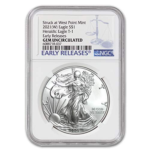 2021 (W) 1 oz American Silver Eagle Coin Gem Uncirculated (Heraldic Eagle T-1 - Early Releases - Struck at West Point Mint) by CoinFolio $1 GEMUNC NGC
