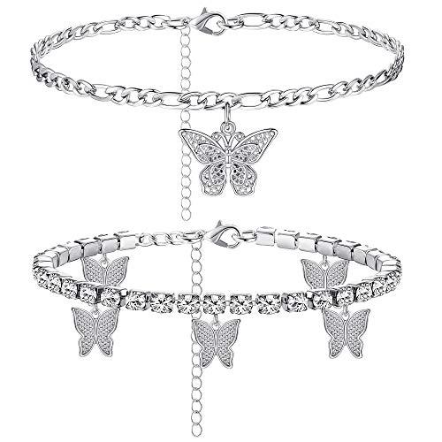 Adramata Mariposa Tobilleras para Mujer Boho Playa Encantos Diamantes Imitación Tobilleras Tenis Acero Inoxidable Cadena Ajustable Capas Pulseras Tobilleras Pie Joyas 2-5 Piezas