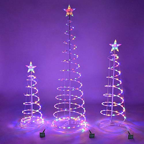 Led Tree Outdoor - Spiral Christmas Tree Outdoor- Christmas Light Tree Outside- Set of 3 Led Christmas Spiral Light Kit 6ft 4ft 3ft - Christmas Decorations Outdoor - Solar Panel (Multicolor)
