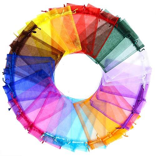 EKKONG Organza saeckchen,100 Stück 13 cm x 18 cm Organza saeckchen Geschenk Beutelchen Hochzeit Beutel Für Festival Party Und Hochzeit Bonbonsbeutel Hochzeit Geschenk Geburtstag (10 Colors)