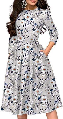 Simple Flavor Women s Floral Vintage Dress Elegant Midi Evening Dress 3 4 Sleeves 3155MS XXL product image