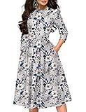 Simple Flavor Women's Floral Vintage Dress Elegant Midi Evening Dress 3/4 Sleeves (3155MS, XL)