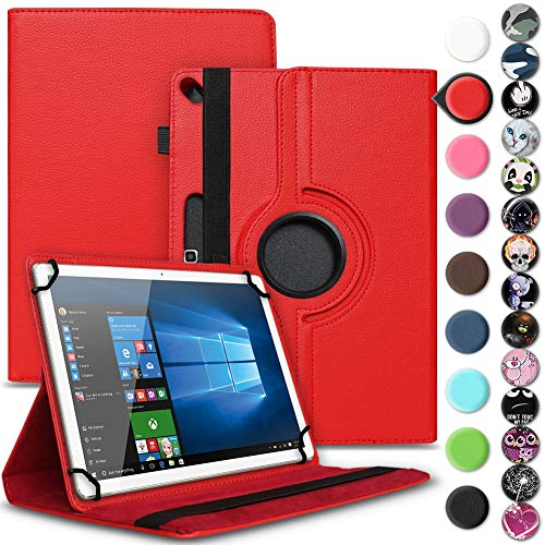 Nauci Tablet Schutz Hülle für Jay-tech Tablet PC TXE10DS TXE10DW TXTE10D TXE10DW2 hochwertiges Kunstleder mit Standfunktion 360° Drehbar Cover Universal Case, Farben:Rot