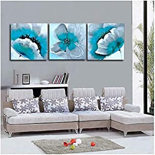 Hxjlm Modern Blooming Turquoise Flower 3 Piece Painting On Canvas Oil Abstract Art Wall Picture Decor Home Sets 50X50Cm