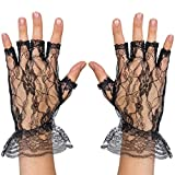 Skeleteen Fingerless Lace Black Gloves - Ladies and Girls Ruffled Lace Finger Free Bridal Wrist Gloves