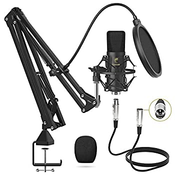 XLR Condenser Microphone TONOR Professional Cardioid Studio Mic Kit with T20 Boom Arm Shock Mount Pop Filter for Recording Podcasting Voice Over Streaming Home Studio YouTube  TC20
