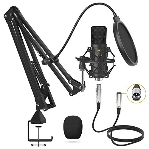 XLR Condenser Microphone, TONOR Professional Cardioid Studio Mic Kit with T20 Boom Arm, Shock Mount,...