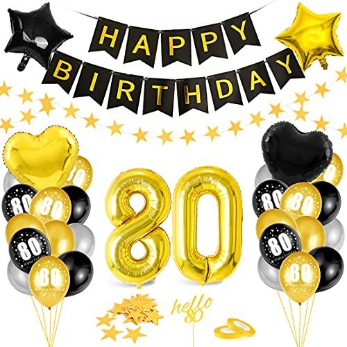 Globos 80 Cumpleaños,Decoración 80 Cumpleaños,Fiesta Cumpleaños 80,Globo de Cumpleaños 80,Globos de Cumpleaños Número 80,Cumpleaños Hombre 80,Kit 80 Cumpleaños Mujeres,Decoraciones Cumpleaños 24 Años