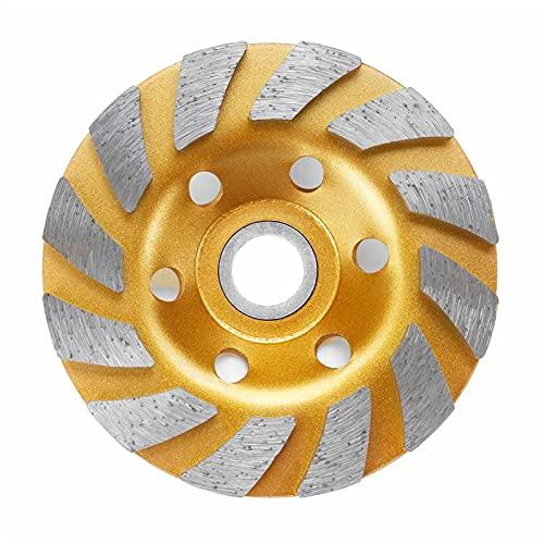 Muela de molienda duradera tipo 5 de 4 pulgadas de 100 mm de diamante de molienda de disco de forma de tazón de molienda de hormigón, granito, piedra de cerámica herramientas (diámetro exterior: oro)