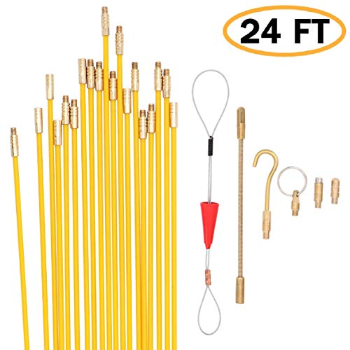 Jeemotery 24 Feet Fiberglass Fish Tape Cable Rods, Electrical Wire Running Pull/Push Kit | Fishing Feeder Pole Sticks Snake Tool for Coaxial Wall Wiring