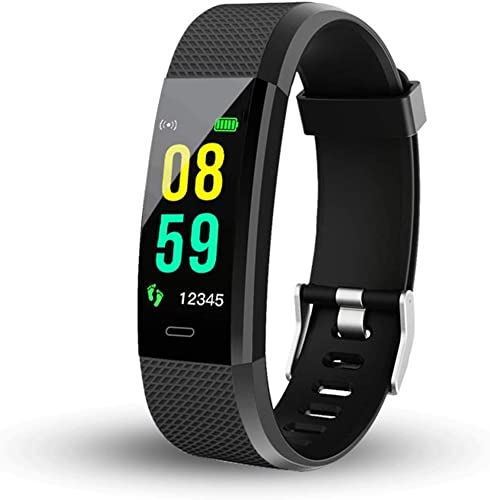 ID115 Plus Bluetooth Smart Fitness Band Watch For Men Women With Heart Rate Activity Tracker Waterproof Body Functions Like Steps And Calorie Counter Blood Pressure Black