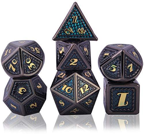 Schleuder Dadi D&D Set Metallo Dice DND, Poliedrici Dadi per Dungeons & Dragons Gioco da Tavolo, Rpg MTG Lega Zinco Dadi da Gioco di Ruolo, Insegnamento della Matematica (Golden And Blue)
