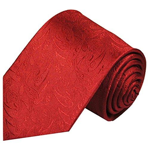 Paul Malone Cravate homme rouge uni paisley 100% soie