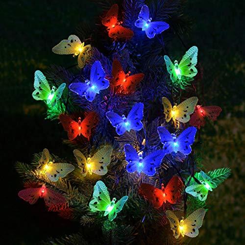 SanGlory Catene Luminose Solare 20 LED Farfalla 4.8M Luci da Giardino Multicolore, Luci Stringa Solari Impermeabili, Luce Solare Decorative per Esterno, Festa, Natale, Halloween(20 LED Colore)