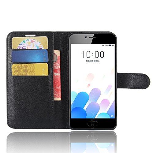SMTR Meizu M5c Wallet Tasche Hülle - Ledertasche im Bookstyle in Schwarz - [Ultra Slim][Card Slot][Handyhülle] Flip Wallet Hülle Etui für Meizu M5c