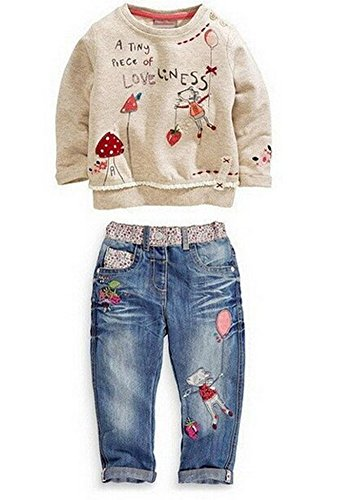 Kids Baby Girl Children Floral Long T-Shirt Top+Jean Pants Set Outfit (Floral,5-6Years)