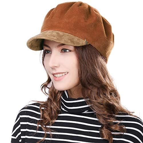 FancetHat FancetHat Damen weiche Ballonmütze Newsboy Cap warme schirmmütze 56-59cm Orange