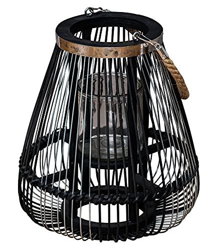 levandeo Laterne H30cm Bambus Windlicht Schwarz Holz Glas Kerzenhalter Sisal Deko Kerzenständer