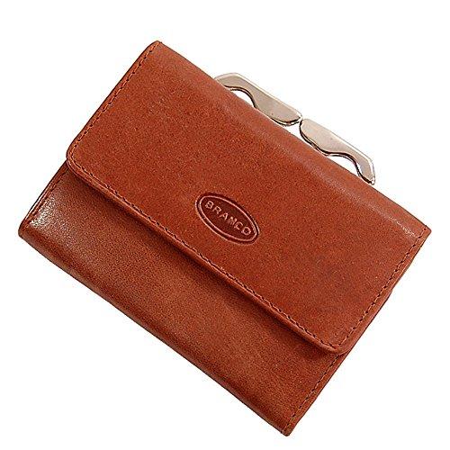 Branco handliche, kleine Leder Damen Geldbörse Portemonnaie Geldbeutel Bügel Börse Knipser Gobago 10,5 x 7,5 cm (Braun)