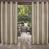 Exclusive Home Curtains Biscayne Indoor/Outdoor Two Tone Textured Window Curtain Panel Pair with Grommet Top, 54x84, Sand, 2 Piece