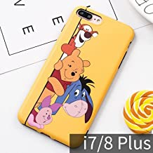 CASESOPHY Soft TPU Yellow Winnie The Pooh Bear Case for iPhone 7plus 8Plus Large Size 5.5 Disney Cartoon Eeyore Piglet Tigger Protective Cool Lovely Cute Fashion Gift Girls Teen Kids Boys