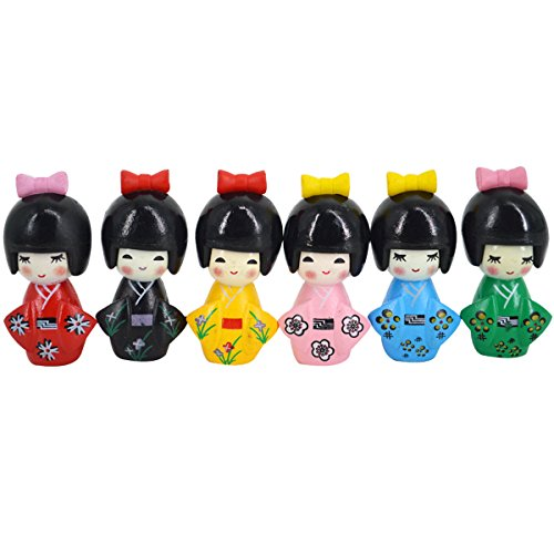 Monique 6 pcs Japanese Kimono Girls Dolls Miniature Ornament Kit Fairy Garden Home Decoration Keychain Accessories