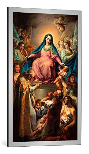 Kunst für Alle Cuadro con Marco: Vicente Lopez y Portana Virgen de la Misericordia - Impresión artística Decorativa con Marco, 60x100 cm, Plata cepillada