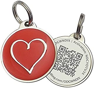 PetDwelling Advanced Xmas Red Heart QR Code Pet ID Tag w/Online Pet Profile/Scanned GPS Location(Spring Sale)