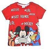 Mickey Mouse bebé-niños Camiseta De Manga Corta (Roja,24 Meses)