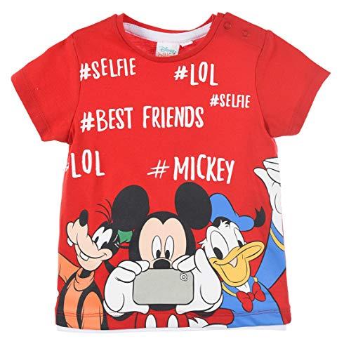 Mickey Mouse Bimbo T Shirt Maniche Corte (Rosso,12 Mesi)