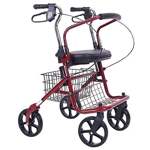 SXRL Multifunktional Alu Gehhilfe Mit bequemem Kissen und Handbremse Einkaufswagen Arthritis Rollator Belastbarkeit 120 kg-50 * 92 * (80-92) cm
