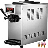 VEVOR Commercial Ice Cream Maker Single Flavor Commercial Ice Cream Machine 4.7-5.3 Gal/H Soft-Serve Ice Cream Maker, 1800W Countertop Soft Serve Ice Cream Machine, with LCD Panel, Stainless Steel