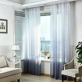 SIMPVALE 1 Pieza Cortinas de Gasa - degradados - Visillos Transparente - para Dormitorio, la Sala de Estar, balcón, Salon (Gris con Blanco, Ancho 150cm / Altura 260cm)