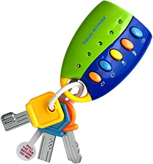 LtrottedJ Toy Keys for Toddlers and Baby Toys-Toy Car Keys with Keychains, Light and Sound (Blue)