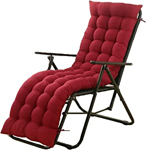61 Inch Sun Lounger Chair Cushions, Sundlight Patio Cushions Chaise Outdoor Mattress Recliner Quilted Thick Padded Seat Cushion Reclining Chair Rocking with Ties (Red)