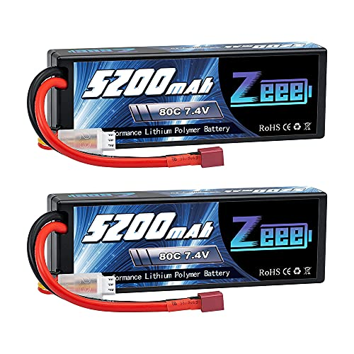 Zeee 2S Lipo Battery 5200mAh 7.4V 80C RC Lipo Hard Case Battery Deans Plug Compatible with 1/8 1/10 RC Vehicles Car Slash RC Buggy Truggy RC Airplane UAV Drone(2 Pack)