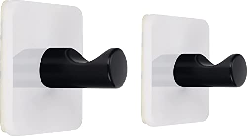 discount WORHE Self Adhesive Hook White Acrylic, Iron Finished high quality Black Pack online sale of 2 Sticky Hooks for Bath Towel Robe Hook, Heavy Duty Door Wall Hook for Bathroom Kitchen(WJ011) outlet online sale