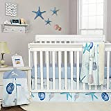 Brandream Baby Boy Crib Bedding Sets Nautical Nursery Bedding Beach Theme Cotton Blanket Set with Starfish Seashell Diaper Stacker, Blue White Summer Baby Bedding with Ocean Animal