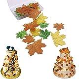 Oblea de papel comestible multicolor para tartas de Navidad, Pascua, San Valentín y Año Nuevo (hojas de arce, 37 piezas)