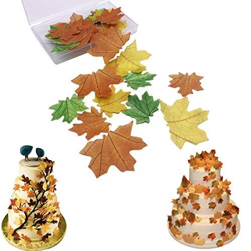 Decoración para tarta de papel de arroz comestible multicolor para Navidad, Pascua, San Valentín y Año Nuevo Maple Leaves 37pcs