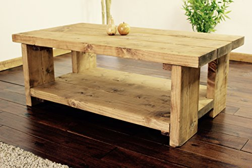 Solid Rustic Handmade Pine Colbury coffee table, finished in a Chunky Country Oak (Dark Oak, 100cm x 60cm x 40cm)