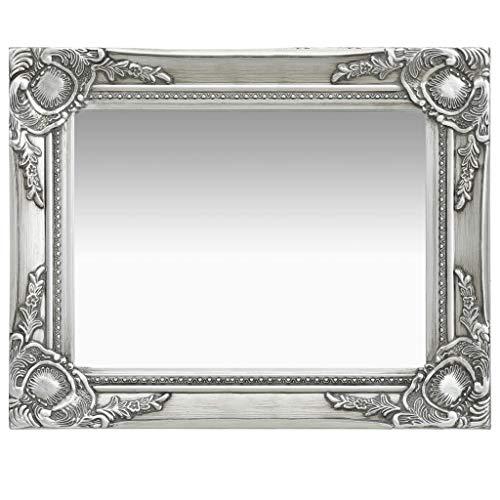 vidaXL Espejo de pared estilo barroco plateado 50x40 cm