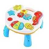 RetroFun 2 in 1 Musikalischer Lerntisch Babyspielzeug-Aktivitätstisch für Babykinder Musikaktivitäts-Center-Tisch mit Licht und Musik Frühes Lernspielzeug für Kinder Babys Kleinkind