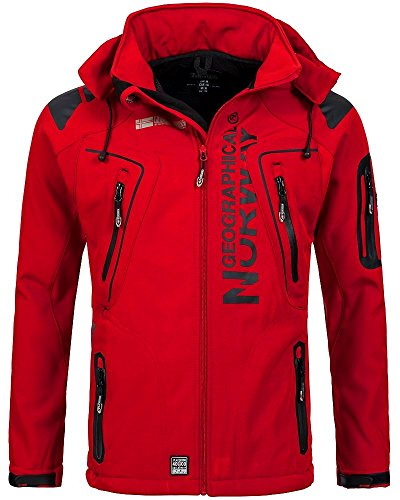 Geographical Norway Techno - Chaqueta flexible para hombre, con capucha desmontable, Hombre, color rojo, tamaño small