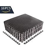 CCLIFE 60x60 30x30 Bodenschutzmatte Schutzmatte Fitness Unterlegmatten Bodenmatte Schwarz Holzoptik...