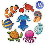 PGFUN 20 PCS Anti Slip Stickers Cute Sea Creature Non Slip Stickers Tub Tattoos Bath Decals Adhesive Appliques for Bathtub,Shower and Other Slippery Surfaces(with Scraper)