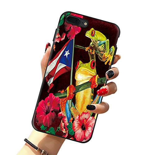 Puerto Rico Flag Case for iPhone 11, Frog in Flower Puerto Rico Flag Case for Girls/Women Flexible Silicone Shockproof Drop Protection Case for iPhone 11 6.1 inch, Black Yellow