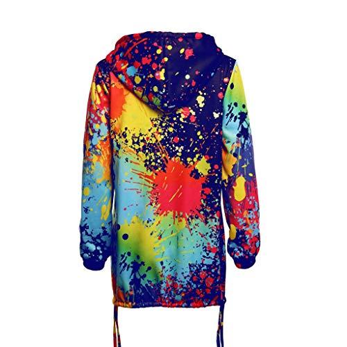 Women Hooded Jackets TUDUZ Ladies Tie-Dye Print Hoodies Sweatshirt Coat Hoody Outwear Overcoat with Pocket Sale Clearance (Blue,S)