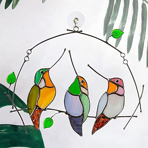 SSLLH Gartendeko Anhänger Ornamente,Persönlichkeit Vögel Fensterbehänge Sonnenfänger, Mehrfarbige Vögel Auf Einem Draht Hochglas Glas Sonnenfänger Fensterplatte,Bird Series Anhänger Wohnkultur